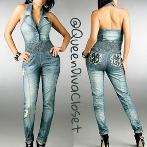 908628df4bb4 Dereon Super pie skinny denim jean jumpsuit romper
